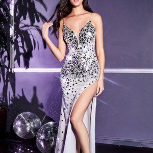 EMBELLISHED FITTED MIRROR LONG GOWN CDCB071
